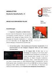 NEWSLETTER Deutsche Gesellschaft e. V.