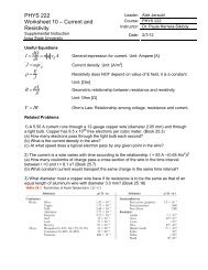 PHYS 222 Worksheet 10 – Current and Resistivity ρ = ρ - Iowa State ...