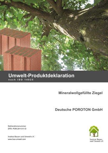 Mineralwollgefüllte Ziegel - Deutsche POROTON ... - ENEV-Online.de
