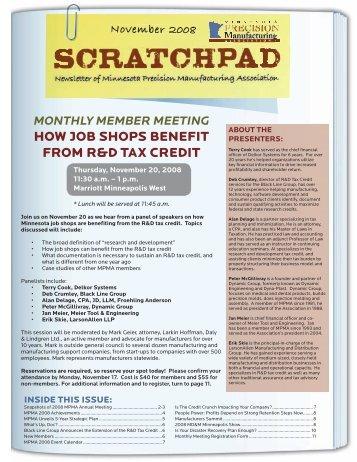 How Job SHopS bENEfIT from r&D Tax CrEDIT - Minnesota ...