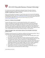 2009 Reynolds Business Nieman Fellowship Application