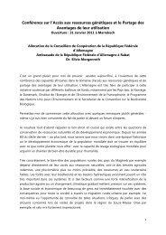 Conférence sur l'Accès aux ressources génétiques et le Partage des ...