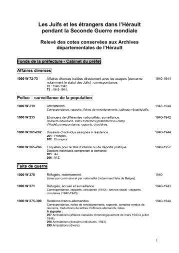 Les Juifs et les étrangers dans l'Hérault pendant la ... - pierresvives