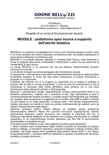 MOODLE : piattaforma open source a supporto dell'attività didattica