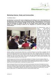 Workshop Games, Chats und Communities - Primarschule Henggart