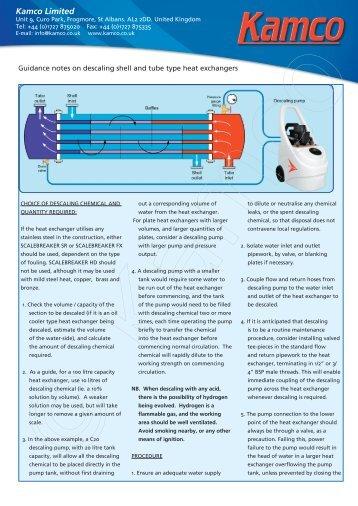 Descaling Shell & Tube Heat Exchangers - Kamco