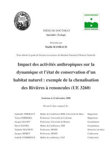 Impact des activités anthropiques sur la dynamique et l'état de ...