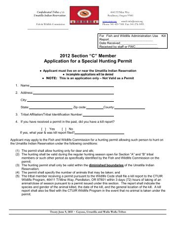 "2012 Section ""C"" Member Application for a Special Hunting Permit"