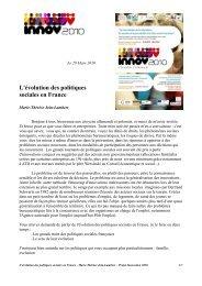 L'évolution des politiques sociales en France - ANDML