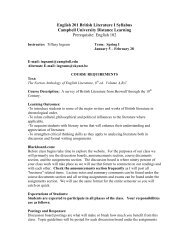 English 201 British Literature I Syllabus - Campbell University