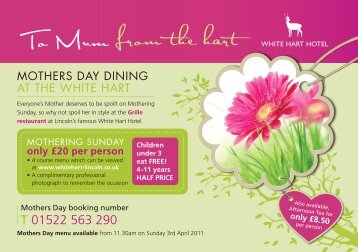 Mothers Day Menu. - White Hart Hotel