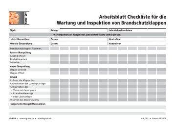 Arbeitsblatt Checkliste für die Wartung und Inspektion von ... - Belimo