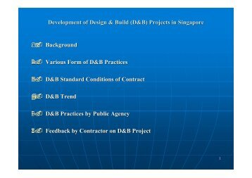 Development of Design & Build (D&B) Projects in Singapore ...