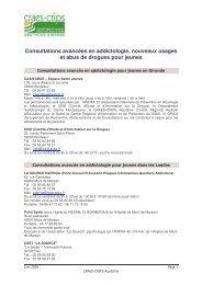 Consultations d'addictologie pour les jeunes en Aquitaine - juin 2006