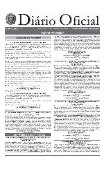 Diário Oficial Quinta-feira, 14 de setembro de 2006 - Prefeitura ...