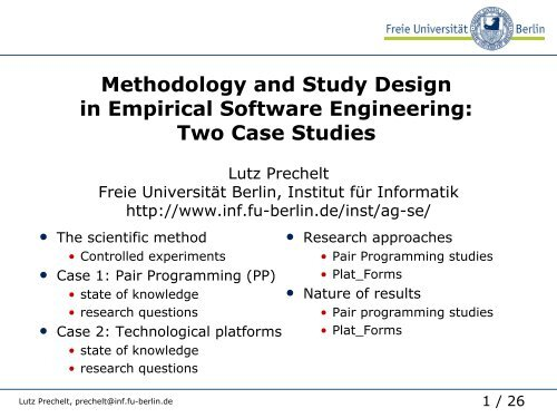 Methodology And Study Design In Empirical Software Engineering