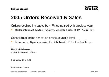 2005 Orders Received & Sales - Rieter