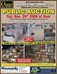 PUBLIC AUCTION Sat, Nov. 29th 2008 At 9am - Maynards Industries