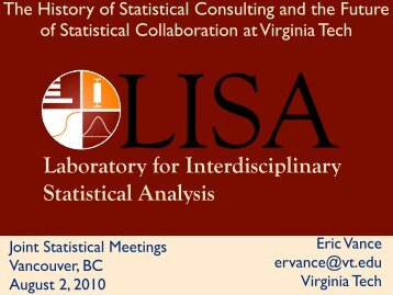 Laboratory for Interdisciplinary Statistical Analysis - LISA - Virginia ...