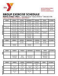 GROUP EXERCISE SCHEDULE - Maple Street YMCA