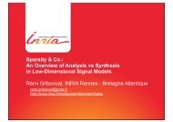 Sparsity & Co.: An Overview of Analysis vs Synthesis in Low ... - Mistis