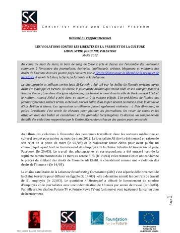 P age1 Résumé du rapport mensuel LES VIOLATIONS CONTRE ...