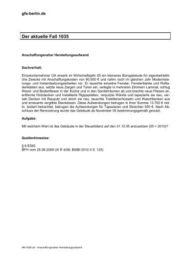 Anschaffungsnahe Herstellungskosten - GFS-Berlin