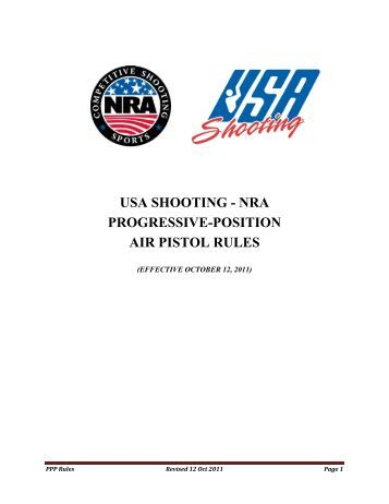 nra progressive-position air pistol rules - USA Shooting