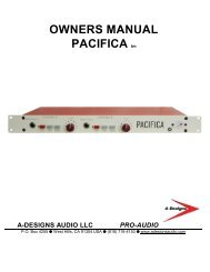 OWNERS MANUAL PACIFICA tm A-DESIGNS ... - Barry Rudolph