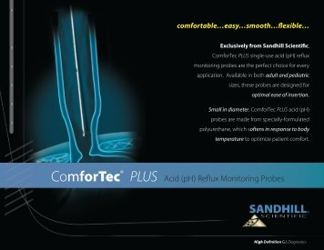 ComforTec® PLUS Acid (pH) Reflux Monitoring ... - Sandhill Scientific