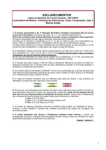 Horário Tronco Comum: Explicações - ano letivo 2011/2012 - ESMAE