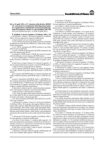 D.L.vo 16 aprile 2012, n. 47 - La Tribuna