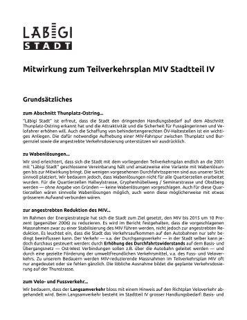 Mitwirkung zum Teilverkehrsplan MIV Stadtteil IV - Läbigi Stadt