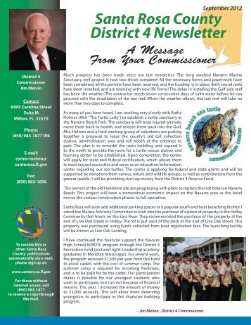 District 4 September 2012 Newsletter - Santa Rosa County