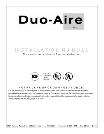 installation & operating manual - Duo-Aire