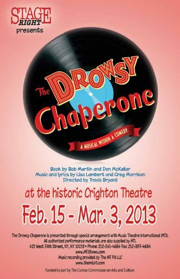 The Drowsy Chaperone - Stage Right Resources