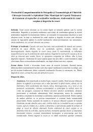 Protocolul rupturilor si sectiunilor tendinoase, sindromului de canal ...