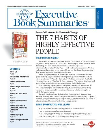 Seven Habits - Stephen R Covey - Executive Summary