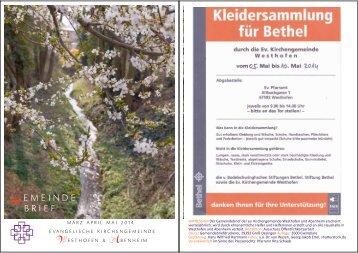 GEMEINDEBRIEF ab März 2014 - Evangelische Kirchengemeinde ...