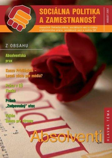 August 2007 - Ústredie práce, sociálnych vecí a rodiny