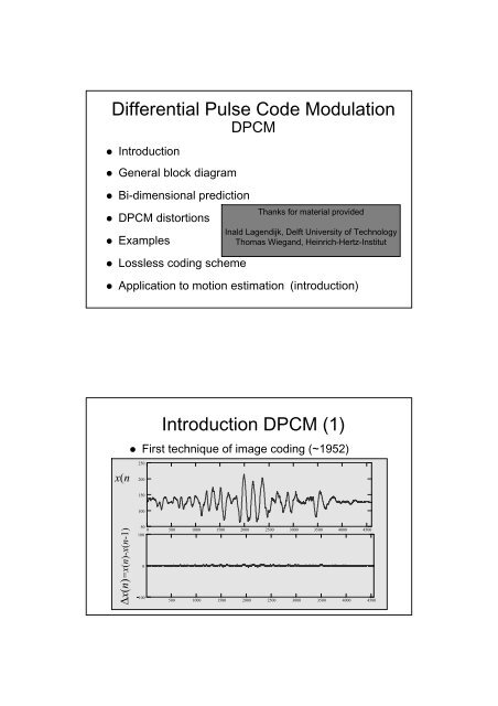 Differential Pulse Code Modulation Introduction DPCM (1)