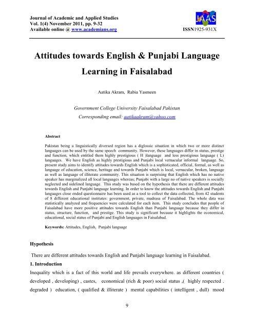 Attitudes towards English & Punjabi Language Learning in