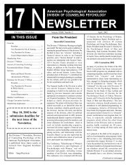 APA Spring 02 newsletter - Society of Counseling Psychology ...
