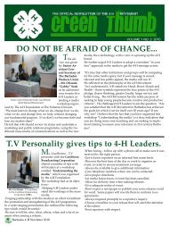 DO NOT BE AFRAID OF CHANGE... T.V Personality gives tips to 4-H ...