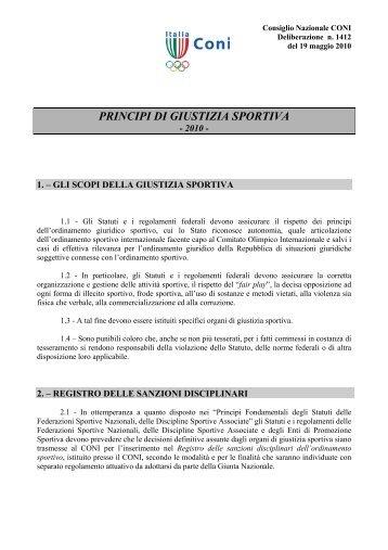CONI - Principi di Giustizia Sportiva 2010 - Diritto Calcistico