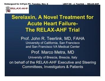 Serelaxin, A Novel Treatment for Acute Heart Failure- The RELAX - 1