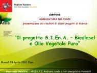 Biodiesel e Olio vegetale Gianfranco - Nocentini – ARSIA