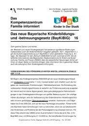 betreuungsgesetz (BayKiBiG) 16 - Kinderbetreuung in Augsburg