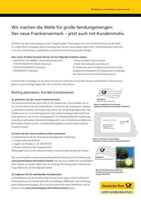 Merkblatt Zum Frankiervermerk