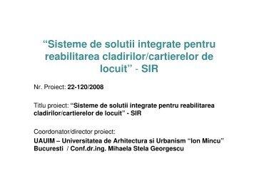 """""""Sisteme de solutii integrate pentru reabilitarea cladirilor/cartierelor ..."""
